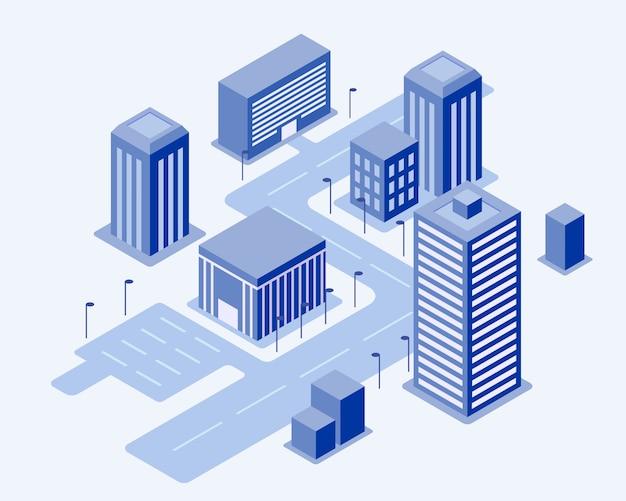 Illustration der sehr hellblauen isometrischen stadt. die hauptstraße kann für tracking, fahrten und lieferservices verwendet werden. bürogebäude und lichtverbindung. trendige flache illustration.