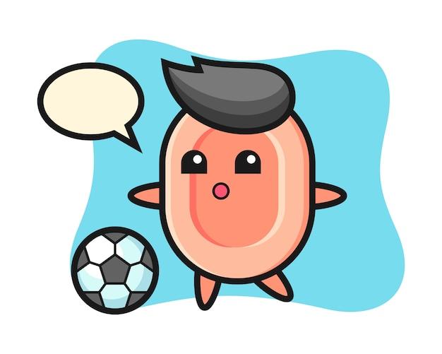 Illustration der seifenkarikatur spielt fußball, niedlichen stil für t-shirt, aufkleber, logoelement