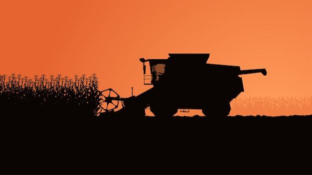 Illustration der seitenansicht-erntemaschine mit pflanzen auf orangeem himmel