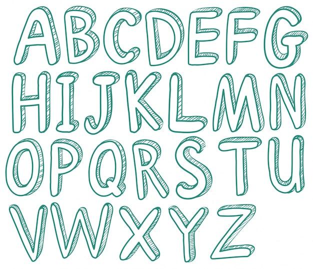 Illustration der skizzierten buchstaben schriftart