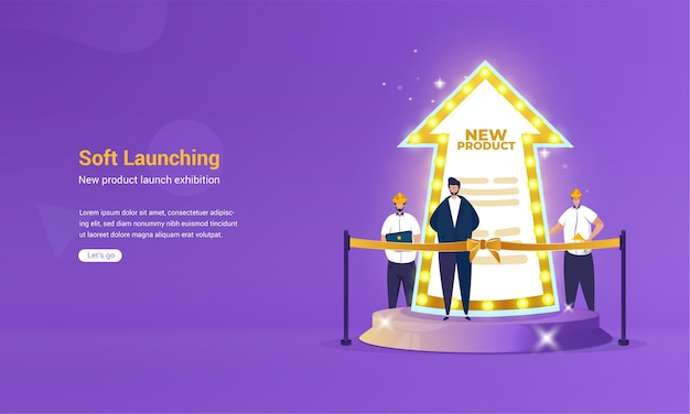 Illustration der soft-launch-ankündigung für neues produktkonzept