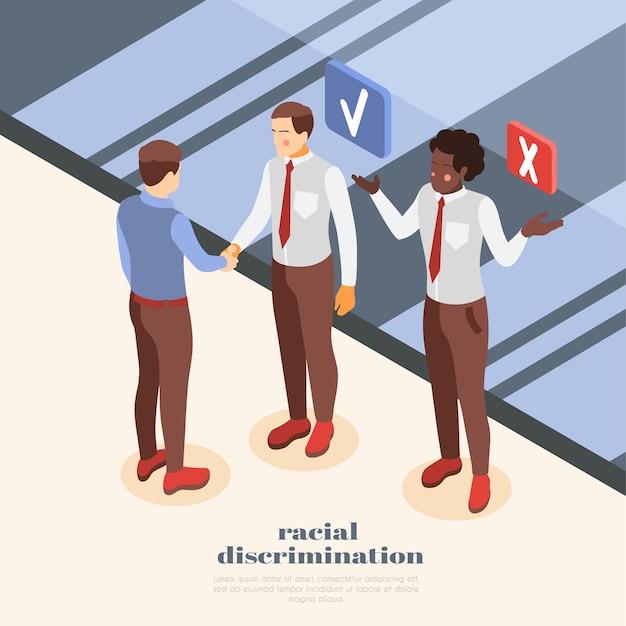 Illustration der sozialen ungleichheit mit mann, der bei der arbeit unter rassendiskriminierung leidet