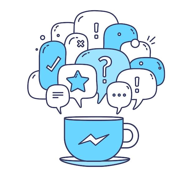 Illustration der sprechblasen des blauen farbdialogs mit symbolen und tasse kaffee auf weißem hintergrund. kommunikationstechnologie