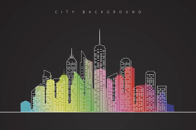Illustration der stadtlandschaft mit farbigen schattenbild. moderner vektor hintergrund der innenstadt