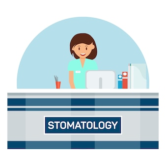 Illustration der stomatologie-rezeption