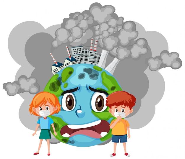 Illustration der stoppverschmutzung mit kindern und trauriger welt