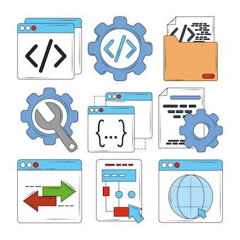 Illustration der suchmaschinenoptimierungssymbole der digitalen software der webentwicklung