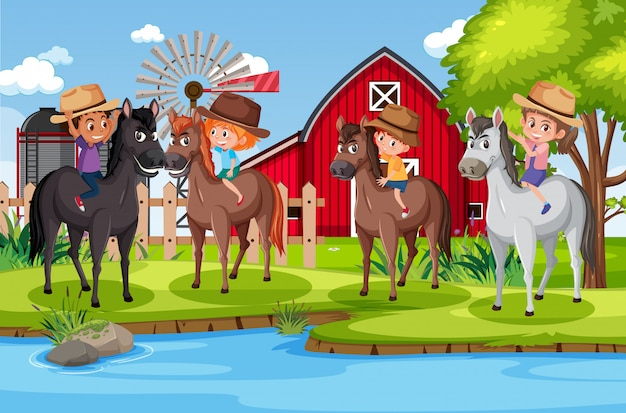 Illustration der szene mit kindern, die pferde im park reiten
