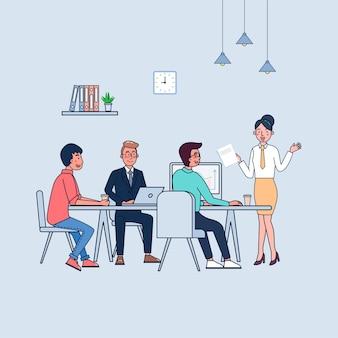 Illustration der teamarbeit auf einer besprechung Premium Vektoren