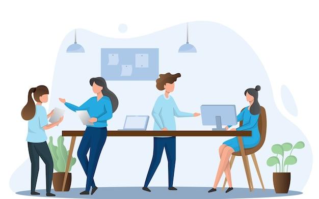 Illustration der teamarbeit, die zusammenarbeitet, team, das unter projekt arbeitet. illustration im flachen karikaturstil.