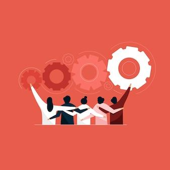 Illustration der teamwork-lösung