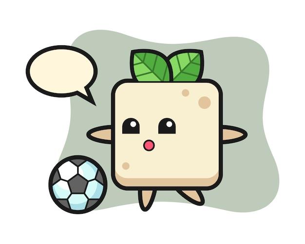 Illustration der tofu-karikatur spielt fußball, niedliche artentwurf für t-shirt