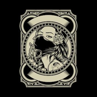 Illustration der tragenden kappe und der rose des mafiamädchens