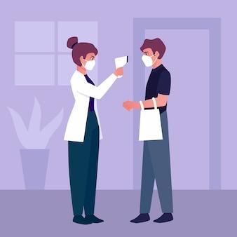 Illustration der überprüfung der körpertemperaturen in öffentlichen bereichen