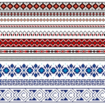 Illustration der ukrainischen nahtlosen volksmusterverzierung. ethnische verzierung. rahmenelement.