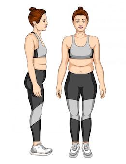 Illustration der unglücklichen jungen frau in der sportkleidung