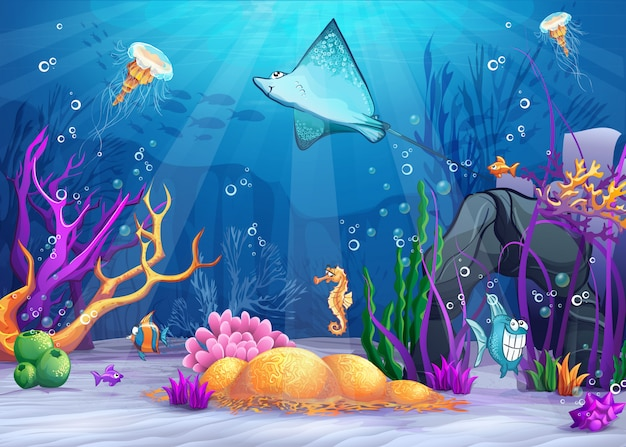 Illustration der unterwasserwelt mit einem lustigen fisch und einer fischrampe