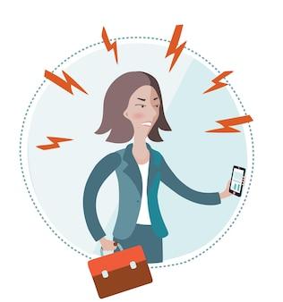 Illustration der verärgerten geschäftsfrau, die smartphone in ihrer hand auf weiß hält