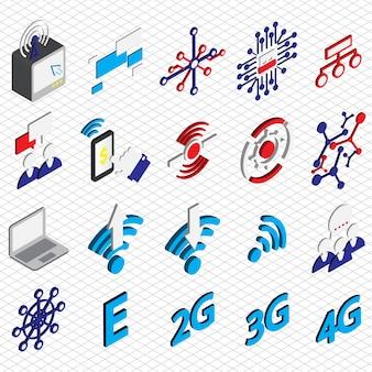 Illustration der verbindung symbole gesetzt konzept in isometrischen grafik