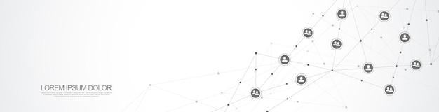 Illustration der verbindung von menschen und kommunikationskonzept, soziales netzwerk. Premium Vektoren