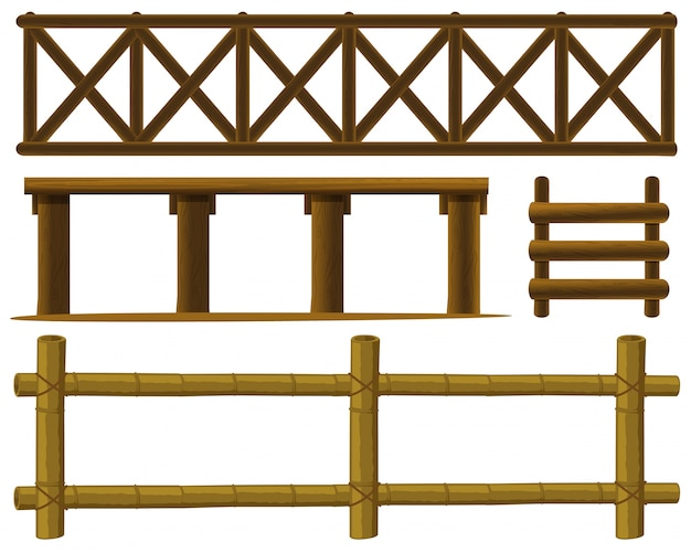 Illustration der verschiedenen gestaltung der zäune