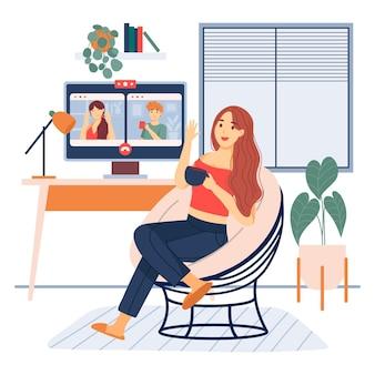 Illustration der videokonferenzszene der freunde