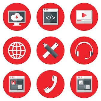 Illustration der website-symbole über rot eingestellt. design, codierung, service, medien, profil, hosting.