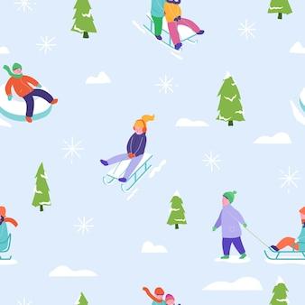 Illustration der wintersaison hintergrund mit schlittenlauf der personencharakterfamilie. nahtloses muster der weihnachts- und neujahrsfeiertage für design, geschenkpapier, einladung, grußkarte, plakat.