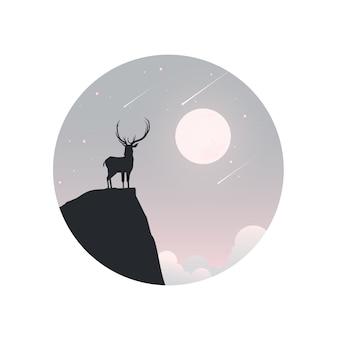 Illustration der wintersaison und des weihnachtstages. hirsch und ein mond im hintergrund.