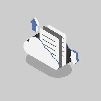 Illustration der wolke mit dem konzept des wolkenspeichers