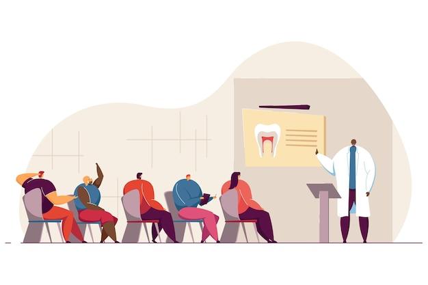 Illustration der zahnarztkonferenz. der arzt spricht vor dem publikum und hält vorlesungen oder seminare für studenten im klassenzimmer. für vorlesung, workshop, zahnmedizin, ausbildungskonzept