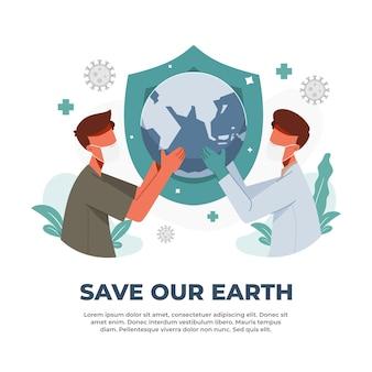 Illustration der zusammenarbeit gegen die pandemie, um unseren planeten zu retten