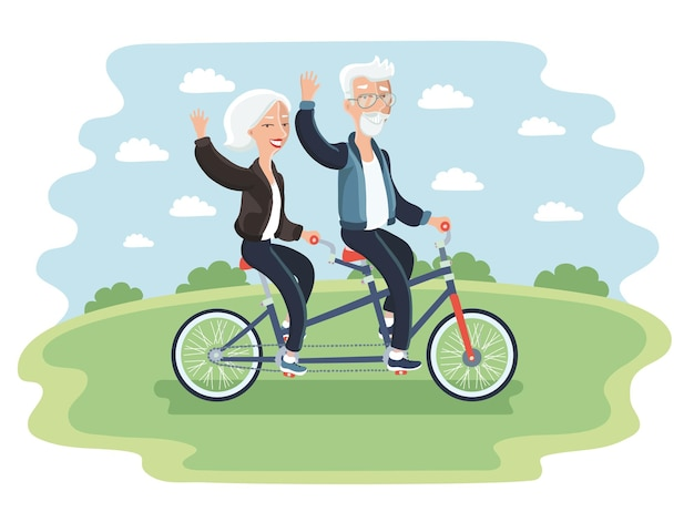 Illustration des älteren paares, das ein fahrrad in einem park reitet