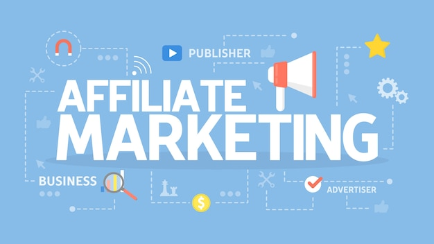 Illustration des affiliate-marketing-konzepts. geschäftsidee und werbung.
