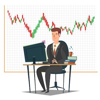 Illustration des aktienmarkt-, investitions- und handelskonzepts Premium Vektoren