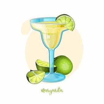 Illustration des alkoholcocktails margarita cocktail