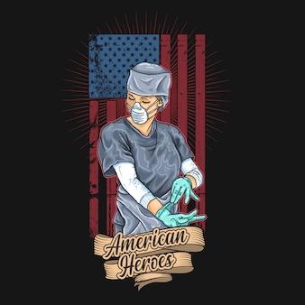 Illustration des amerikanischen medizinischen offiziers