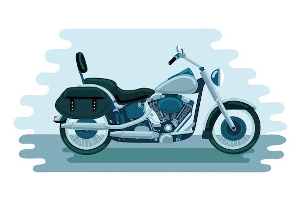 Illustration des amerikanischen motorrads der alten schule;