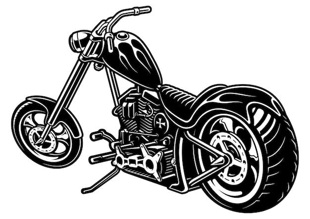 Illustration des amerikanischen motorrads mit flammen. (version auf weissem hintergrund) text befindet sich auf der separaten ebene.
