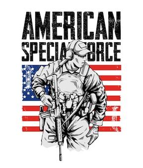 Illustration des amerikanischen spezialeinheitsmilitärs