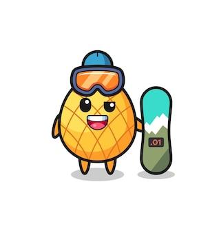 Illustration des ananas-charakters mit snowboard-stil, süßes stildesign für t-shirt, aufkleber, logo-element