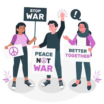 Illustration des antikriegs-protestkonzepts