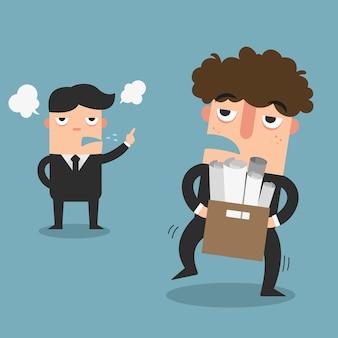 Illustration des arbeitnehmers wurde gezwungen, von seinem arbeitgeber zu entlassen