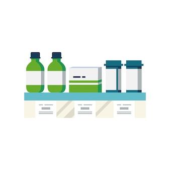 Illustration des arzneimittelregals oder der vitrine mit medikamenten und tablettenpillenflaschentropfen. tablets mit preisschildern.