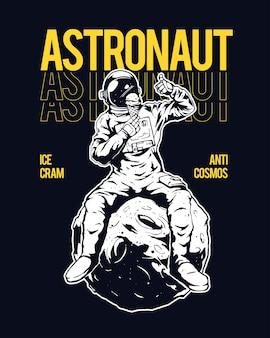 Illustration des astronauten, der auf dem mond sitzt