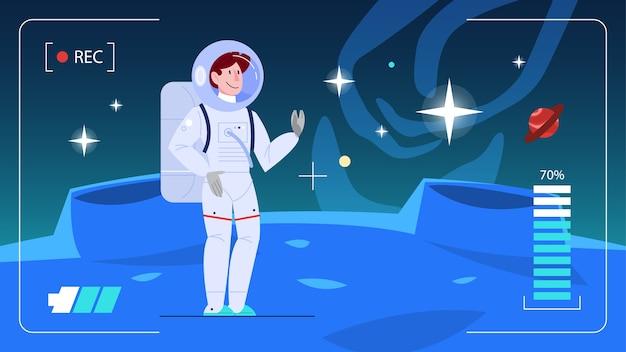 Illustration des astronauten, der einen planeten erforscht. mann im raumanzug