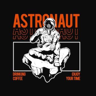 Illustration des astronauten, der kaffee trinkt
