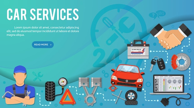 Illustration des autodienstkonzepts