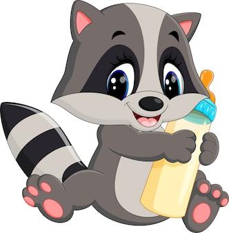 Illustration des baby-waschbären milchflasche halten
