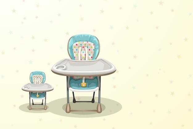 Illustration des babyhochstuhls der vorderansicht des paares auf buntem hintergrund mit sternen